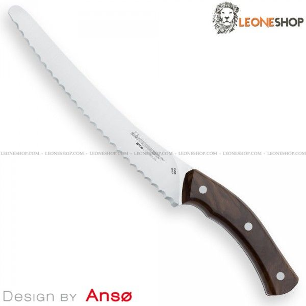 "DUE CIGNI ARNE Line Bread Knife 2C 903 ZW, Italian cutlery and kitchen knives with serrated blade of stainless steel 12C27 Sandvik of high quality satin finished - Ziricote Wood handle with stainless steel rivets, a very elegant and precious tropical wood of dark brown color coming from Central America and Mexico - NOT suitable for washing in a dishwasher - Blade lenght 9.1"" ​​- Design by Jens Anso - DUE CIGNI kitchen knife, a truly exceptional product with quality materials..."