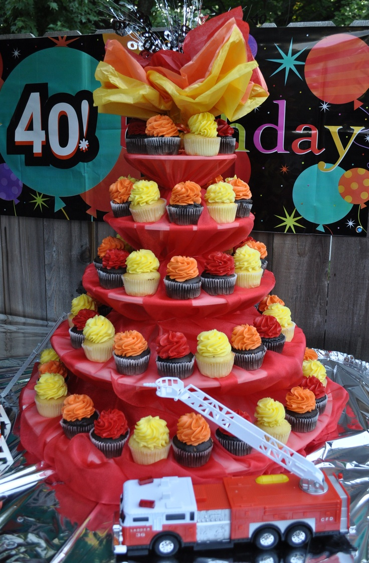 Firefighter Flamin' Birthday Cupcake Tower |  Shared by LION