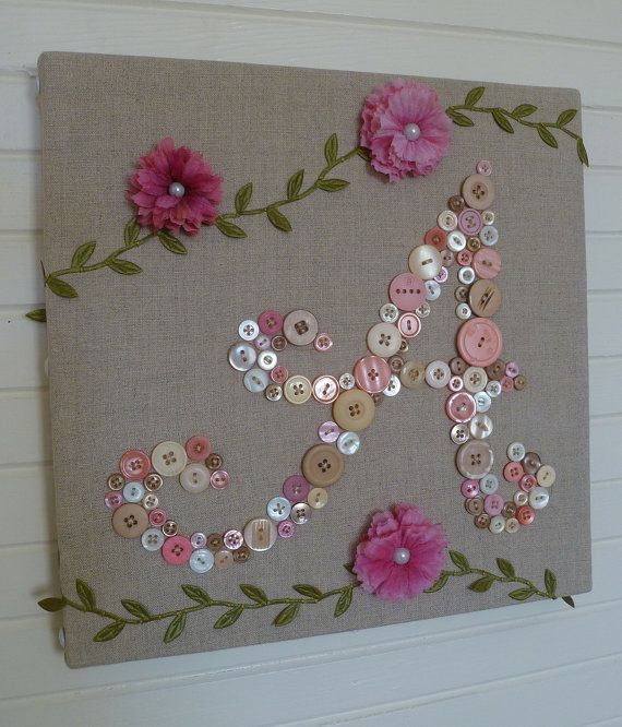 Baby Monogram Button Letter -- Unique Personalized Nursery Wall Art