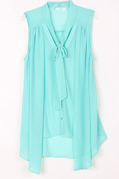 Greek Blue Silky Maggie Blouse on Emma Stine Limited