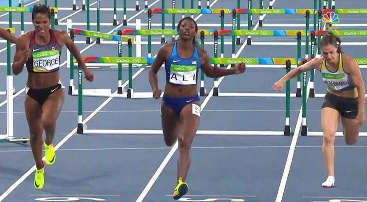 Nia Ali wins her 100m hurdles semifinal and advances to her first Olympic final! #Rio2016