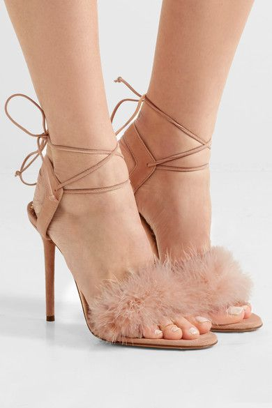 Charlotte Olympia | Salsa feather-trimmed suede sandals | NET-A-PORTER.COM