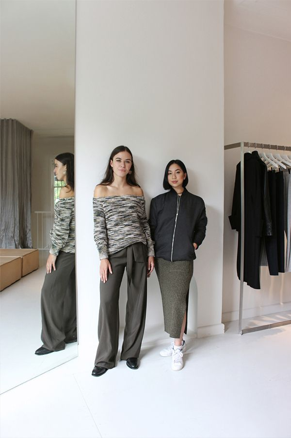 Paddington Boutique | Britt (left) wears the Preacher Knit, Piers Wide Leg Pant and Adelaide Boot by R.M.Williams. Pauline (right) wears the Aviator Bomber, Systematic Tube Skirt and Lacoste