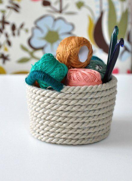 Ragasztott kötél kosár - Masni / No-sew, no-crochet, simple glued rope basket DIY