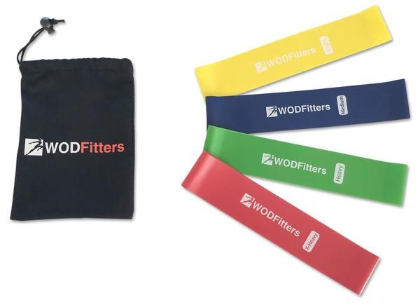 "WODFitters Set of 4 Resistance Bands - 4Loop Exercise Bands Set Helps Strengthen and Tone Legs, Hips, Glutes and Arms * 4 Colored 10"" x 2"" or 12""x2"" Workout Bands with Different Resistance Levels: Light, Medium, Heavy * Perfect for Cross Training, Stretching, Rehabilitation, Mobility Work, Muscle Activation, Yoga, Pilates and Home Gym * Lifetime Warranty, Free Training Guide and Carrying Bag"