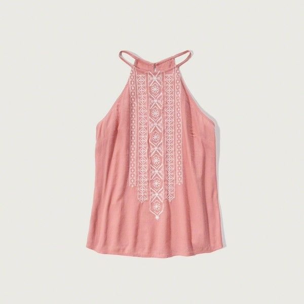 Abercrombie & Fitch Embroidered High Neck Tank ($38) ❤ liked on Polyvore featuring tops, light pink, drapey top, high neckline tops, drapey tank, embroidered top and light pink top