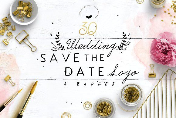 30 Save the Date Wreath Logo by KlapauciusCo on @creativemarket