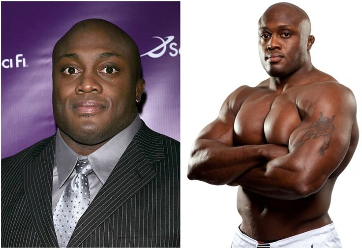 Bobby Lashley's eyes color - brown and hair color - bald