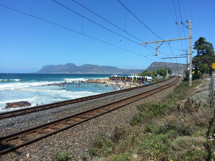 MetroRail lines going into Muizenberg outside of Cape Town, South Africa