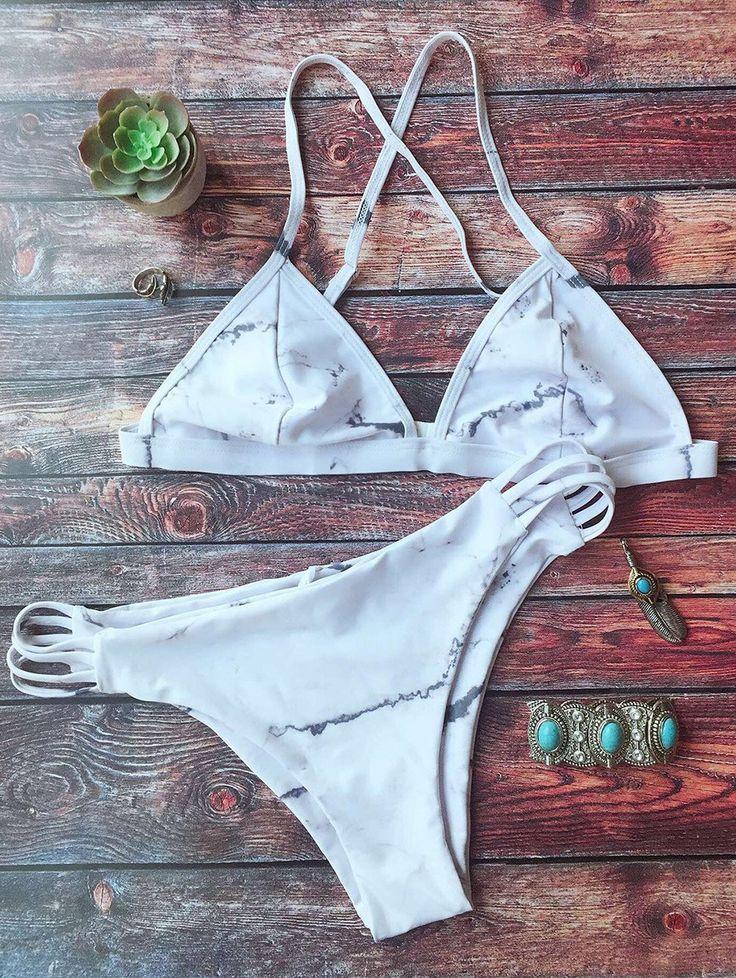 $19.99 Cutout Double Side Bikini Set - WHITE M