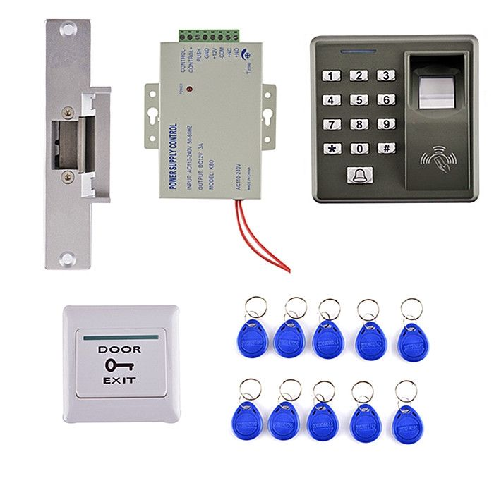 79.10$  Watch here - 10 Key Card +Power Supply + Electric Bolt Door Lock +125KHZ RFID Card Fingerprint Door Access Control Kit  #bestbuy