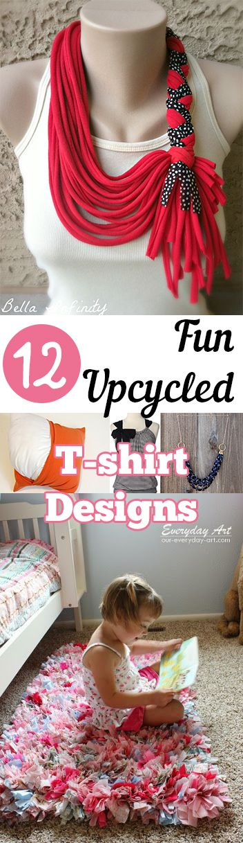 12 Fun Upcycled T-shirt Designs. Tips, tricks, hacks, shopping hacks, money hacks, cleaning, life hacks, life tips, clothing upcycle, repurposed clothing