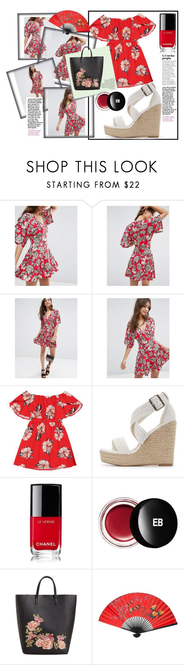 """Inspired by japanese kimono dress"" by victoria-dimeska ❤ liked on Polyvore featuring ASOS, Charlotte Russe, Chanel, Post-It, Edward Bess and MANGO"