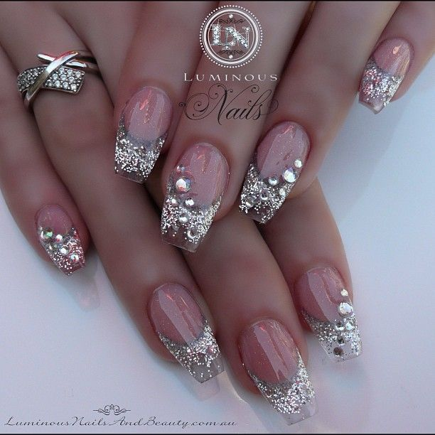 Sculptured Clear Nails with Silver Glitter