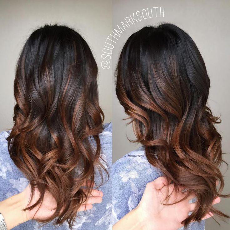 Thick Hair With Warm Brown Balayage