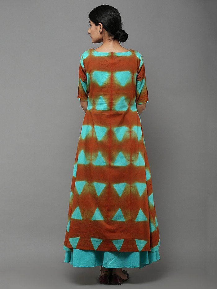 Ferozi Orange Tie and Dye Cotton Kurti with Lining - Set of 2