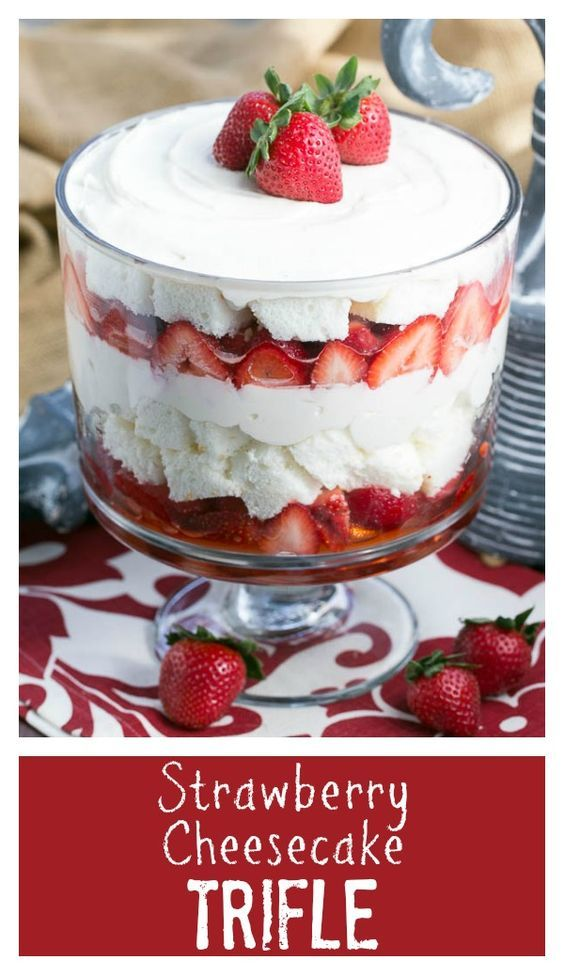 Strawberry Cheesecake Trifle | Layers of angel food cake, boozy berries and cream cheese filling @lizzydo