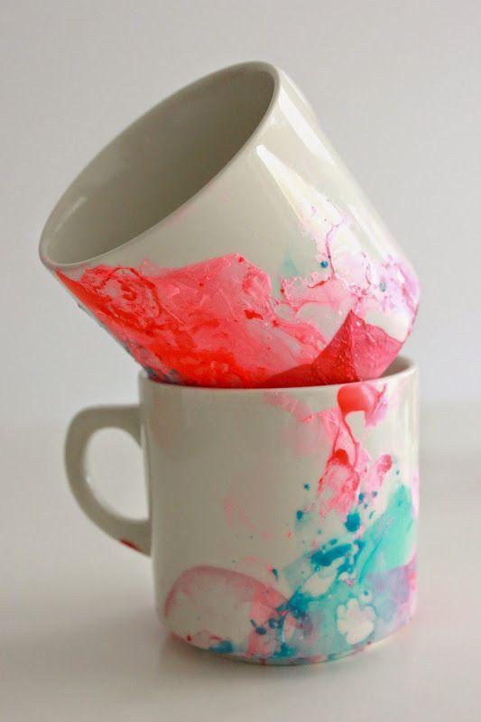 Simple and quick DIY Paint Mugs using nail polish and water!