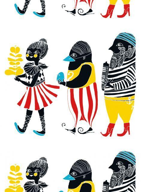 Kulkue-kangas (valkoinen,puna,kelta,sini) |Kankaat, Puuvillakankaat | Marimekko