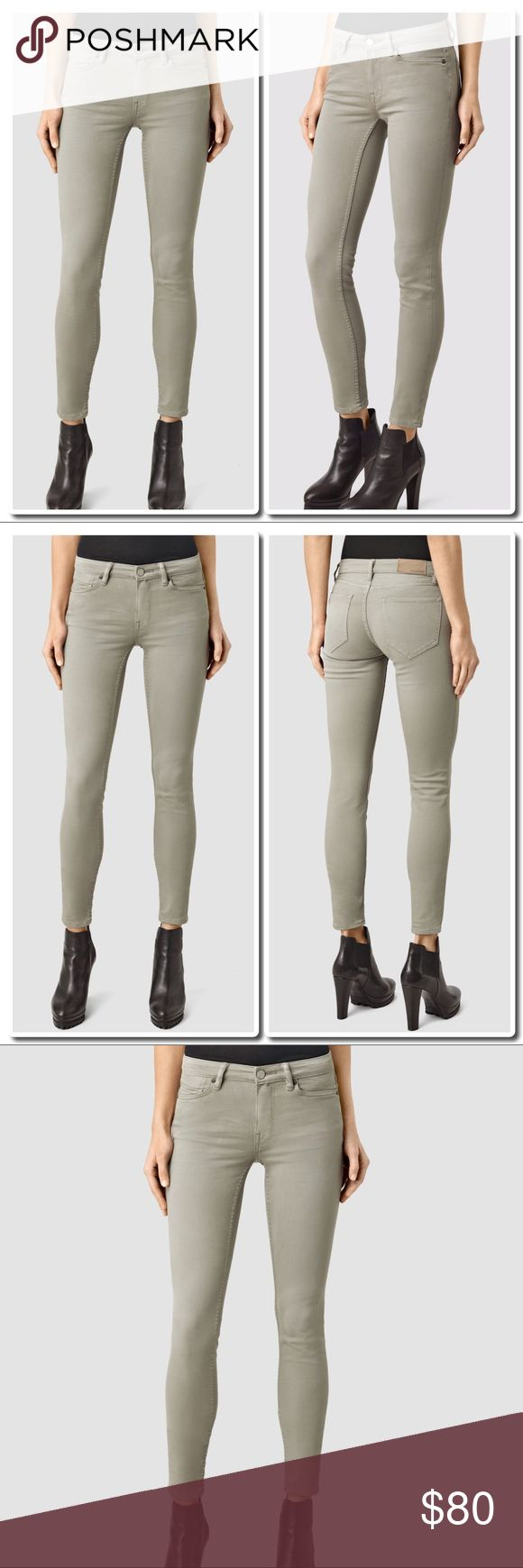 All Saints Mast Garment Dye Jeans Crafted in premium stretch denim, our super skinny, low rise Mast jeans are perfect for all year round. 90% Cotton 8% Polyester 2% Elastane - Low rise. Super skinny leg. 5 pocket styling. Zip fly. Stretch denim. SIZE & FIT Skinny fit. Light Khaki Green All Saints Jeans Skinny