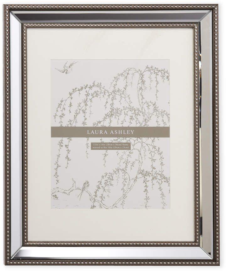 Laura Ashley Silver Tone 11 X 14 Mirrored Frame Frame Beaded Mirror Silver Tone