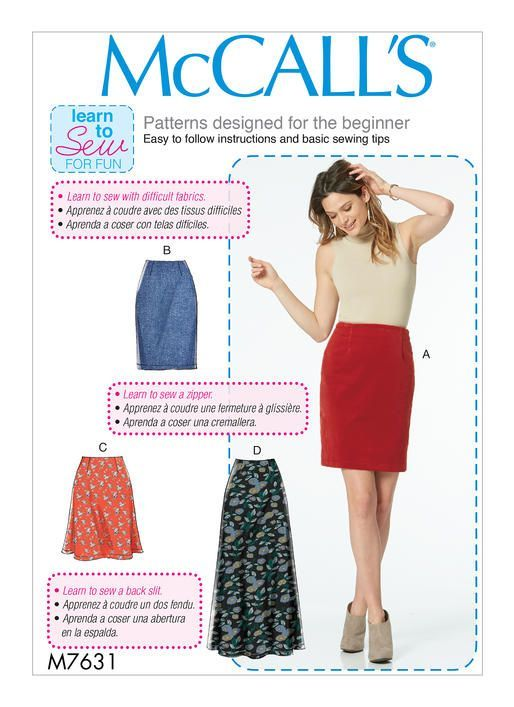 McCall\'s Learn to Sew For Fun sewing pattern. M7631 Misses\' Skirts ...