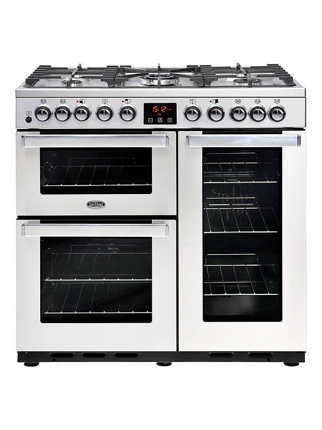 Belling Cookcentre Deluxe 90dft Dual Fuel Range Cooker Stainless Steel Induction Range Cooker Belling Range Cooker Dual Fuel Range Cookers