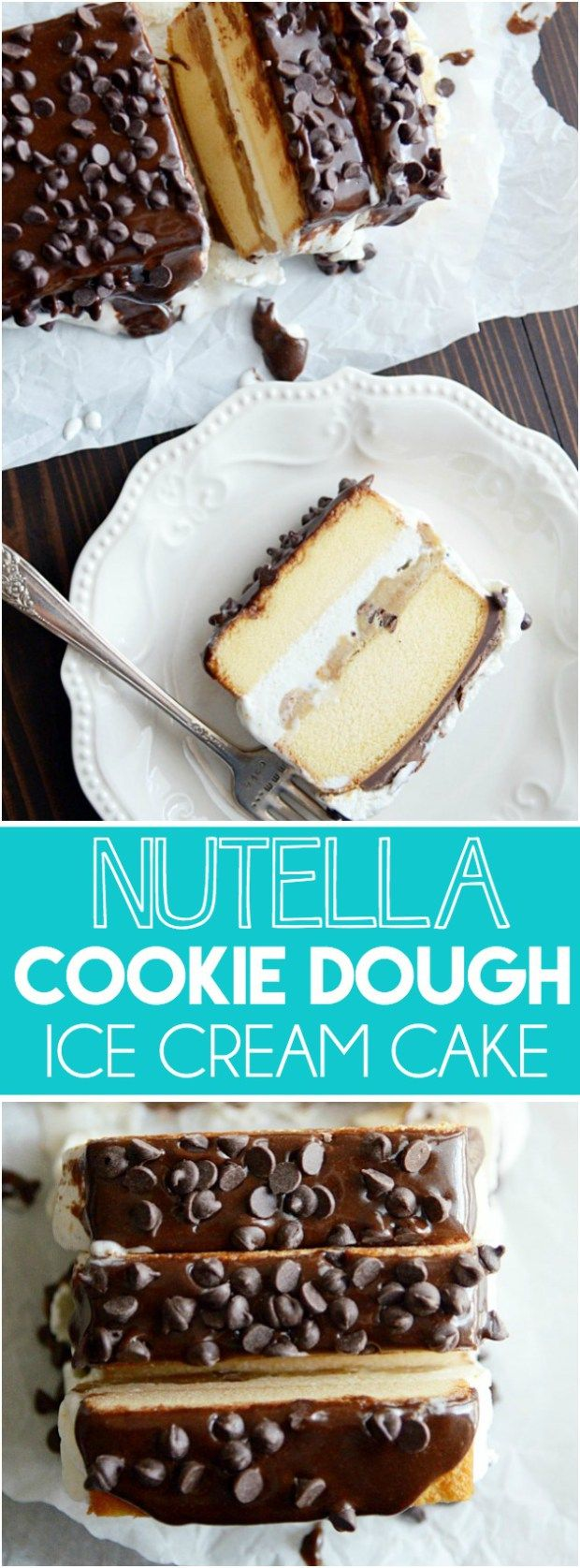 Layers of butter pound cake, vanilla ice cream, chocolate chip cookie dough and…