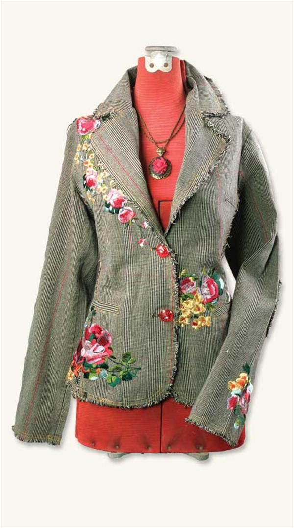 Embroidered tweed jacket