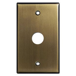 """Phone Cable Cover Wall Plate with 5/8"""" Opening - Antique Brass"""