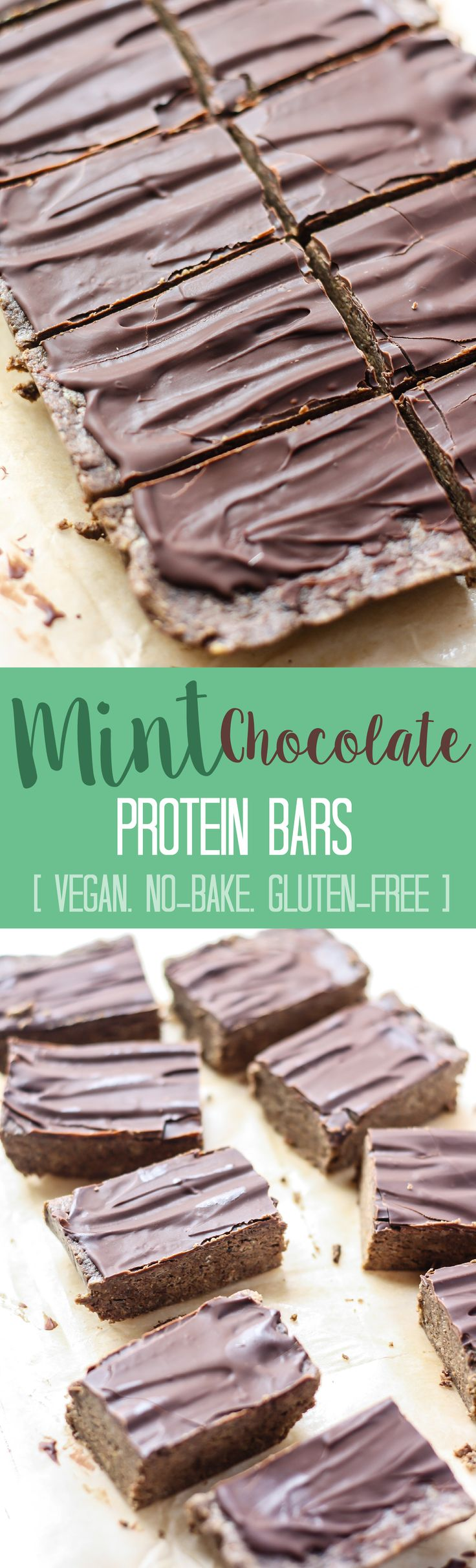 Mint Chocolate Protein Bars [no-bake, vegan]