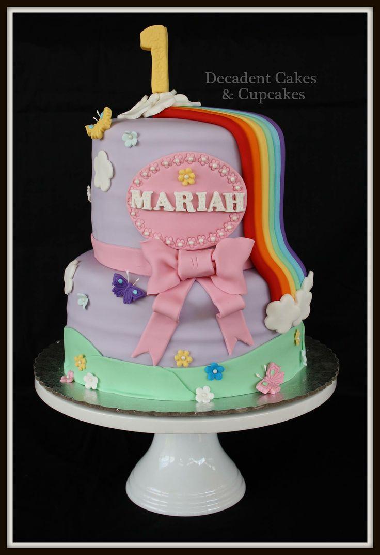 <3 1st Birthday Rainbow Cake <3 Made By Decadent Cakes & Cupcakes