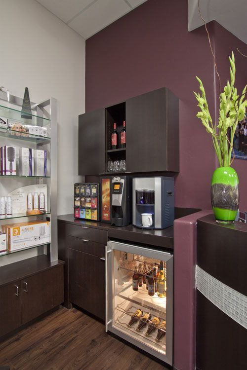 every salon needs a kick ass coffee station and this one even has wine and champs yes please. Black Bedroom Furniture Sets. Home Design Ideas