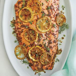 Roasted Salmon with Thyme and Honey-Mustard Glaze | MyRecipes.com A bed of fragrant fresh thyme lends wonderful flavor to the fish. Have your fishmonger remove the pin bones from the fillet, and choose one cut toward the head end of the fish.