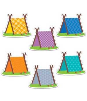 "These fun Pup Tents 6"" designer cut-outs are great for highlighting student work on a bulletin board and for cubby tags. Perfect for use in a variety of classroom displays and themes: science, nature, outdoors, animals, and camping. They could even be used for your literature and poetry bulletin boards."
