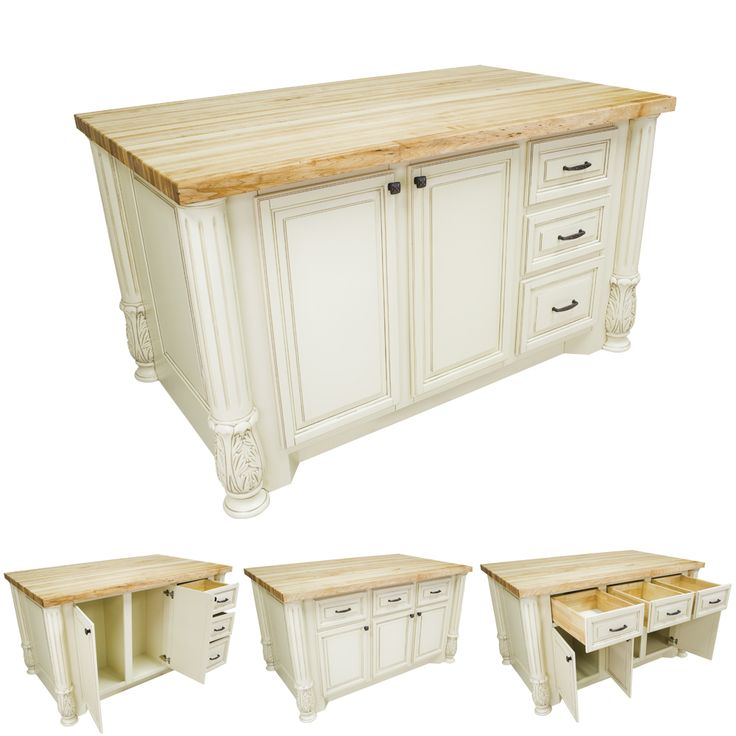 "8 Kitchen Island: Furniture Style, Antique White, Kitchen Island: 63-1/8"" X"