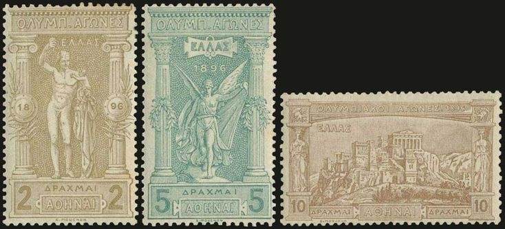"""1896 """"Olympic games"""" issue in complete set of 12 values, all stamps are hinged and only the 60l. is u/m."""