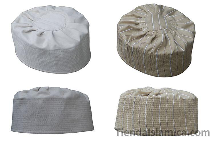 Kufi Reversible Hecho a Mano Islamico de Color Marron Claro y Marron Pastel Precio: $12.99 en: www.tiendaislamica.com
