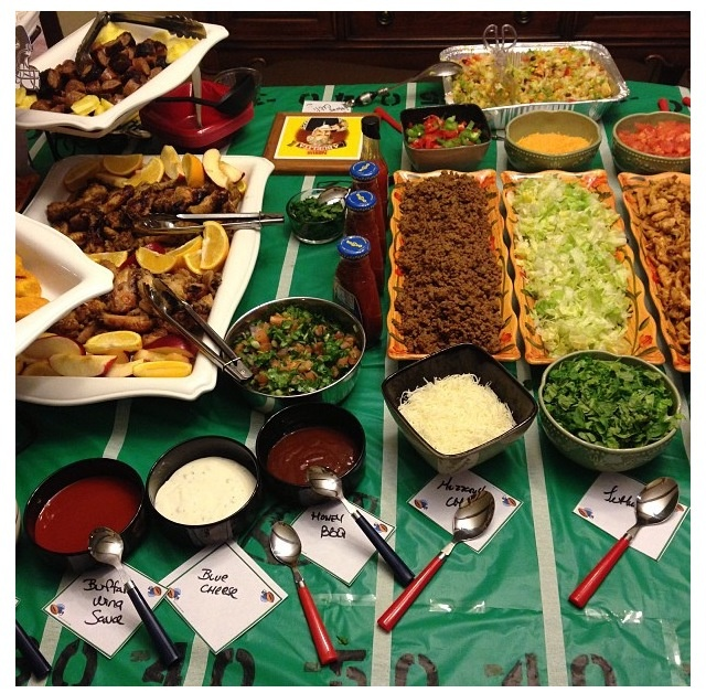 Taco bar on a diy football table setting super bowl diy for Food bar ideas for a party