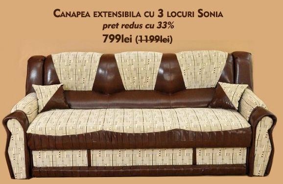 Canapea Sonia cu 3 locuri, extensibila http://www.kalithea.ro/canapele/34-canapea-sonia.html