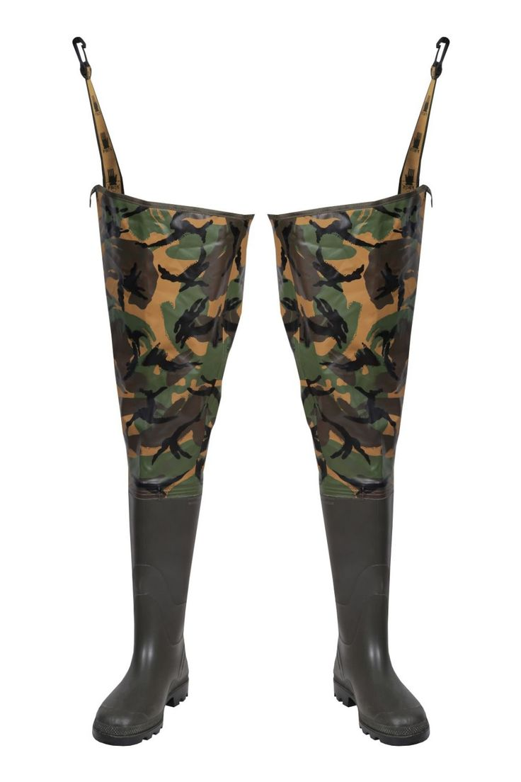 CAMO THIGH WADERS Model: WR02/CAM The model is made on Camo colours with welded PVC boots and offers you camouflage stage. The waders are made of waterproof PVC/cotton fabric. The product is recommended for use under extreme weather conditions, during different fishing activities. The product protects against water and mud. Thanks to double welded seams with high frequency current, the seams are very strong and waterproof.