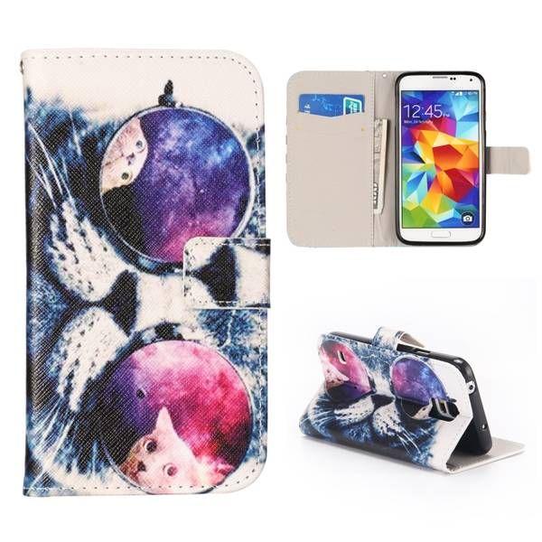 Kat met zonnebril bookcase hoes voor Samsung Galaxy S5