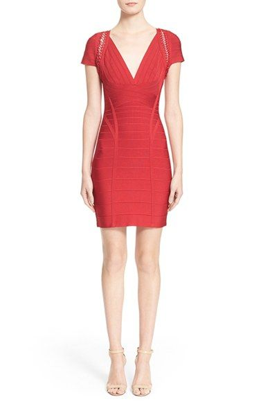 Herve Leger 'Reza' Cage Stitch Bandage Dress available at #Nordstrom