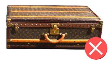 Guide d'achat malle de luxe - restauration trunk malle ancienne louis vuitton mauvaise restauration personnalisée non authentique