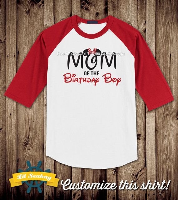 Dad Mom of the Birthday Boy Red Raglan Shirt Birthday by LilSeabag