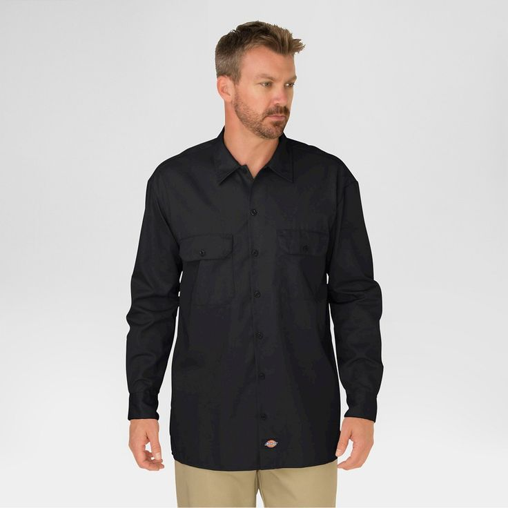 Dickies Men's Original Fit Twill Long Sleeve Shirt-Black Large, Black