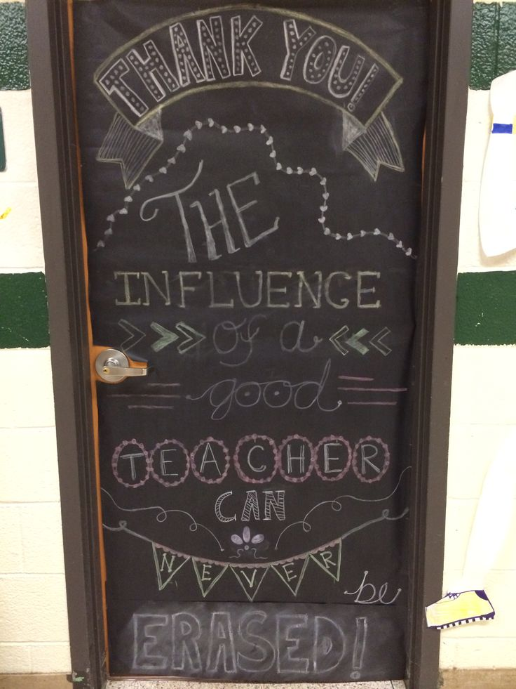 Teacher lounge door - decorated with chalkboard art for teacher appreciation!