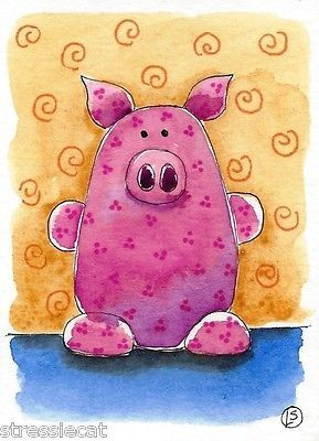 ACEO Original Watercolor Folk Art Illustration Whimsical Animals Little Pink Pig | eBay