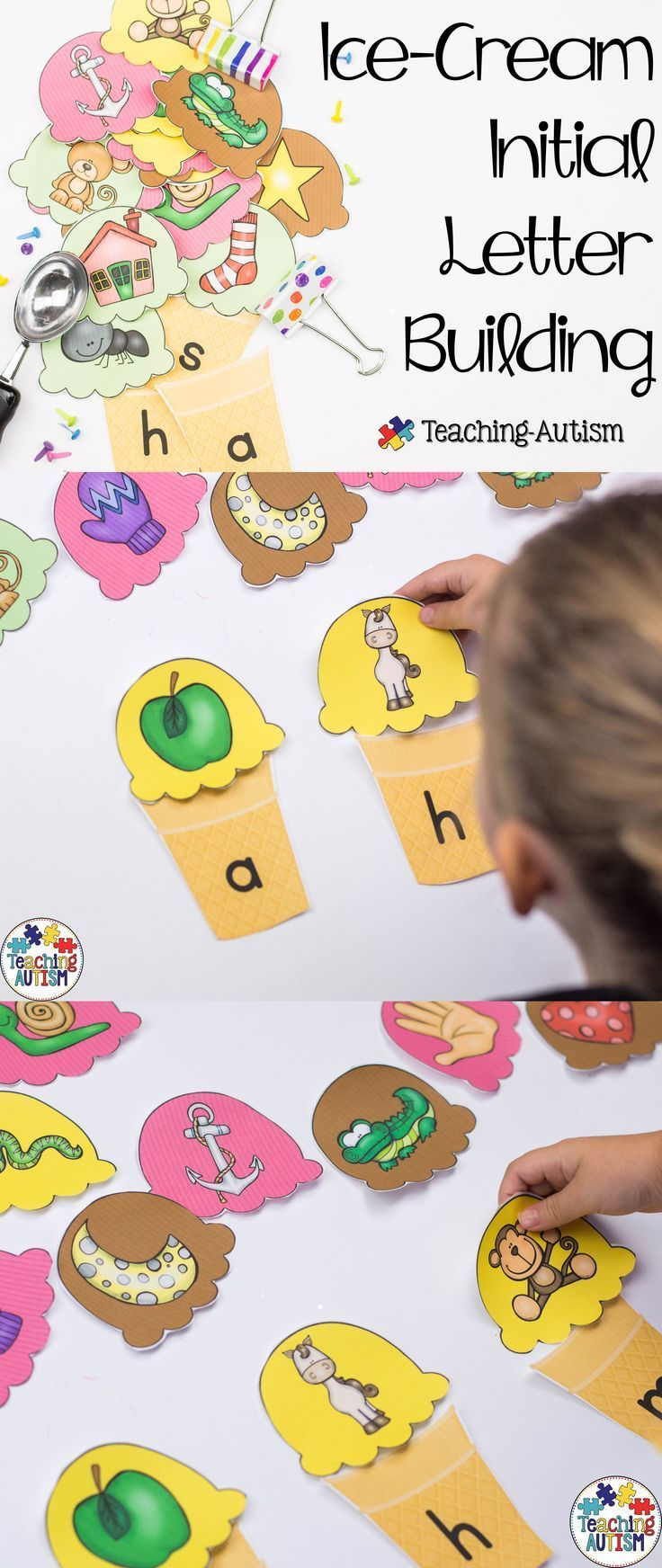 This resource is perfect for any time of the year, but especially Summer time!   Students have to sort the 'scoops of ice cream' into the correct cones - matching images to their initial letter (items that begin with a,b etc).  There are cones for every l