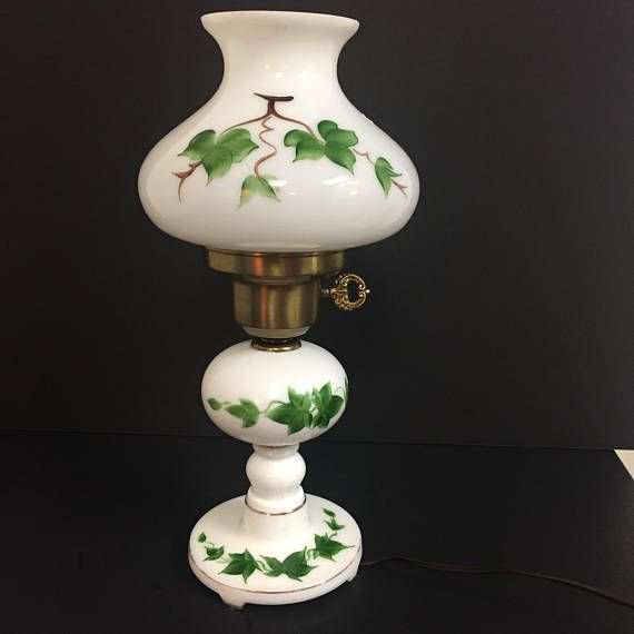 Vintage Table Or Accent Lamp Milk Glass Base And Shade With
